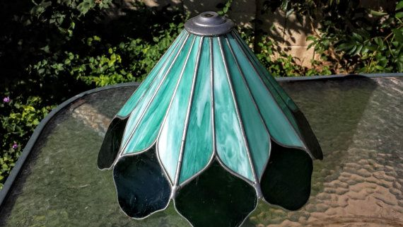 Vintage Stained Glass Aqua And Green Lamp Shade by GlassEtcVintage