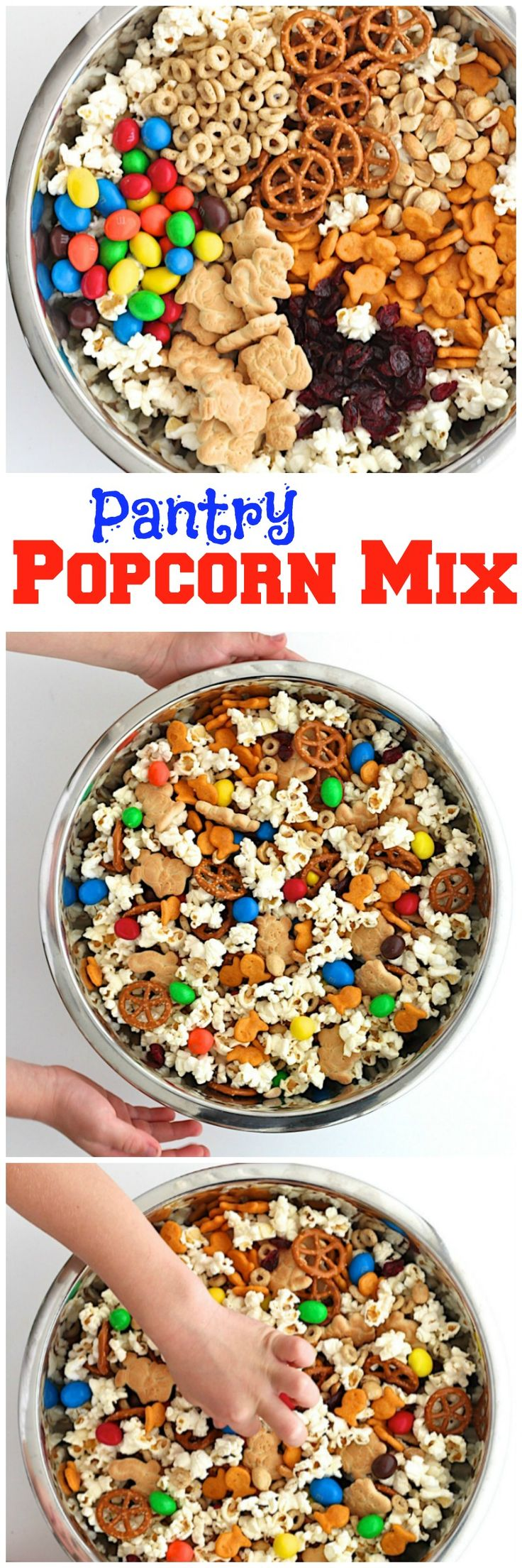 Toss handfuls of your favorite pantry snacks in a big bowlwithfresh popped popcorn andyou've got a quick, tastysnack mix that'sperfect for movie night, birthday parties or any occasion! The boys are so excited to share their absolute favorite rainy day/movie night/or anytime I'll let them make it Pantry Popcorn Mix with you! It's so easy...