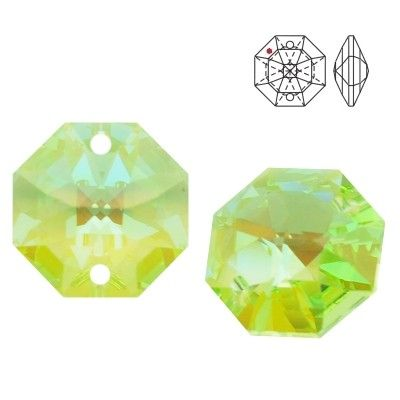 STRASS Swarovski 8116 Octagon 14mm Light Peridot Blue AB with 2 holes  Dimensions: 14,0 mm Colour: Light Peridot Blue AB 1 package = 1 piece