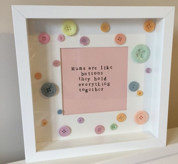 Mums are like buttons handstamped quote frame