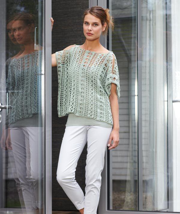 Crochet top made of Catania yarn - free pattern.