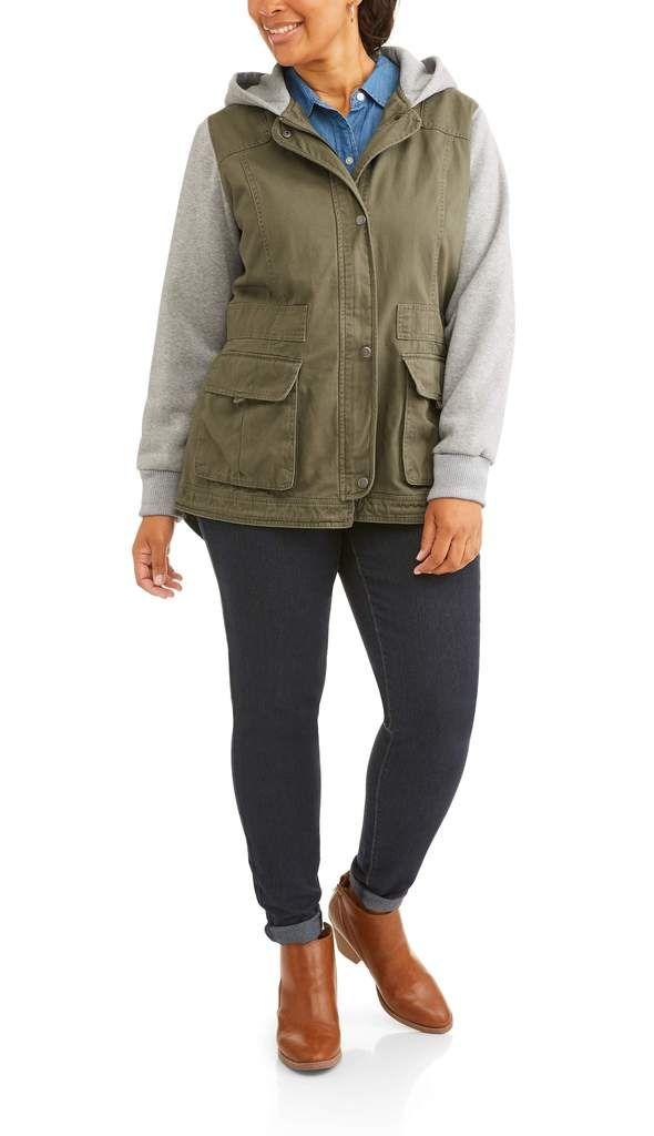 641292ac4 Women's Plus-Size Anorak Jacket With Fleece Hood & SleevesWomen's ...