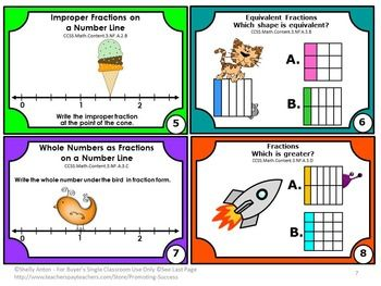 FREE MATH ACTIVITIES - Fractions FREE Grade 3 Mega Bundle Sampler - In this resource, you will find eight task cards for Grade 3 Common Core fractions. This is a sampler set from my Grade 3 Fractions Mega Bundle. You will also receive scavenger hunt directions and many other game ideas! A student response form and answer key are also provided.