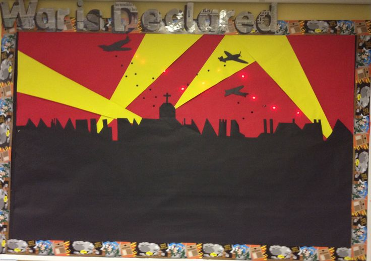 This year's World War 2 display with red lights and black drawing pins as the falling bombs-January 2014