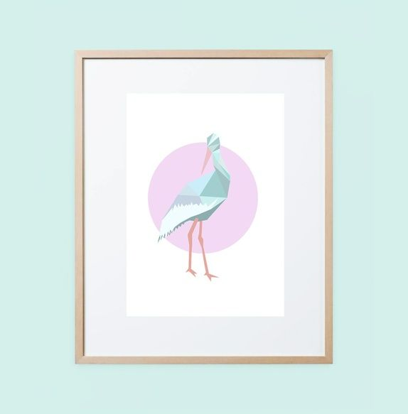 S for Stork A4 print