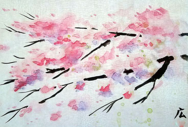 桜です。これも墨絵風に描きました。