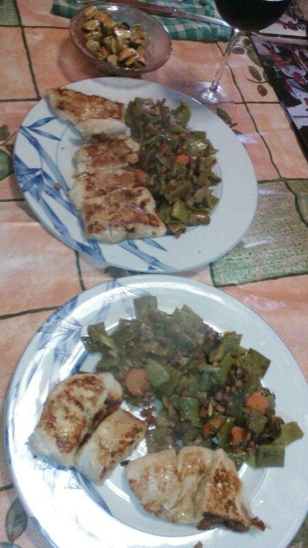 Solomillo de pavo con judias verdes champiñones salteados con jamon