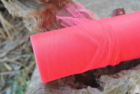 Coral Nylon Tulle DIY Crafts Wedding  Decor Hen Party by JCBees, $10.99