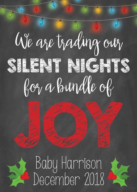 Baby Schwangerschaft Karte Weihnachten Dezember Ankündigung Sign Card Bundle of Joy Stille Nächte Digital Fi   – Products