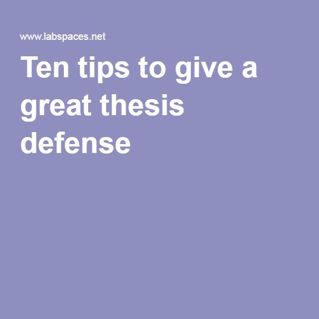 Thesis Submission and Defense Process