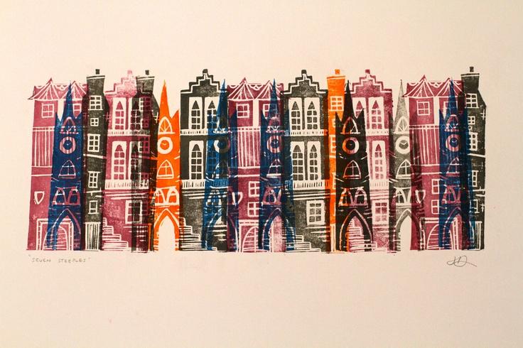 Seven Steeples Linocut Print. £25.00, via Etsy. Jenni Douglas
