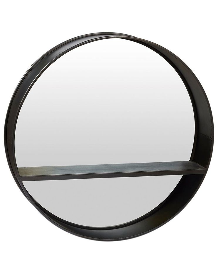 Round Black Wall Mirror with Shelf Dia:80cm, Large | Free Delivery