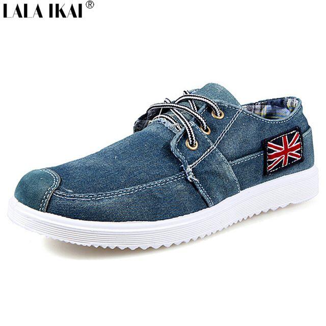 2016 mode Männer Freizeitschuhe Denim Leinwand Schuhe Britische Flagge Lace Up…