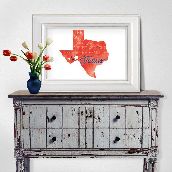 Heart of Texas wall art by TheDesignMarketplace on Etsy #texas #stars #state #art #watercolor #print