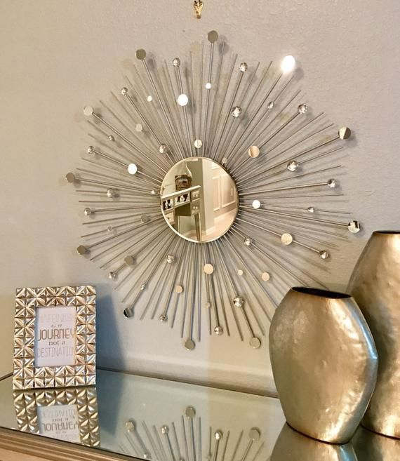 Add An Elegant Touch To Your Home With This Gorgeous 2 Hand Crafted Sunburst Mirrors The Center Mirror Is Sunburst Mirror Starburst Mirror Mirror Wall Decor