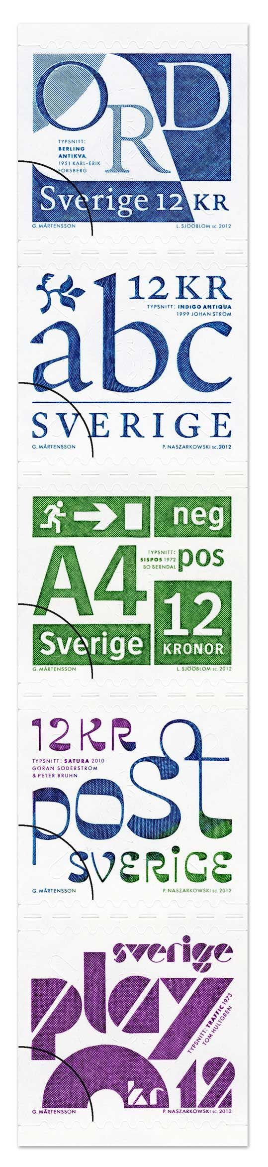Swedish stamps featuring five Swedish typefaces, released 20120510.