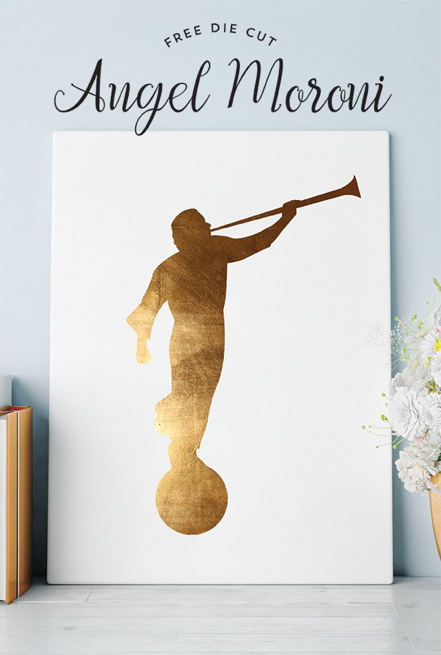 FREE Angel Moroni Cut File - Designs By Miss Mandee. SVG cut file, perfect for making LDS art pieces and wedding gifts.