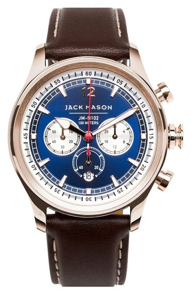 Jack Mason Nautical Chronograph Leather Strap Watch, 42mm available at #Nordstrom