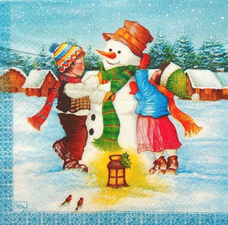 Картинка лепим снеговика для детей