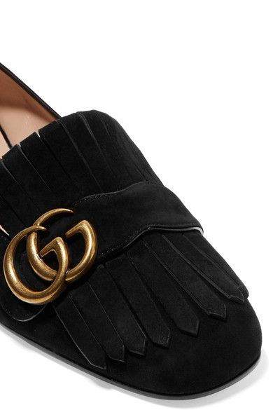 Gucci - Marmont Fringed Suede Loafers - Black - IT34.5
