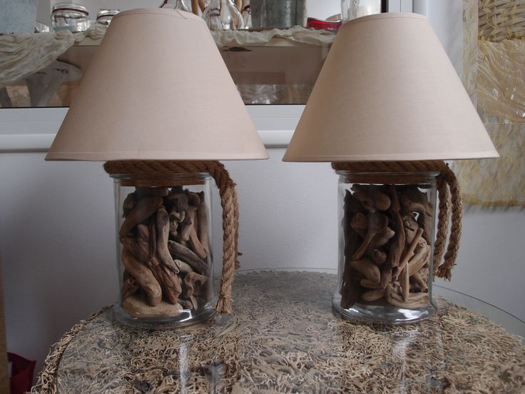 driftwood Lamp..φωτιστικό-πορτατίφ γυάλα με θαλασσοξυλα σχοινί, & αστερία..τηλ παραγγελιών 6976773699