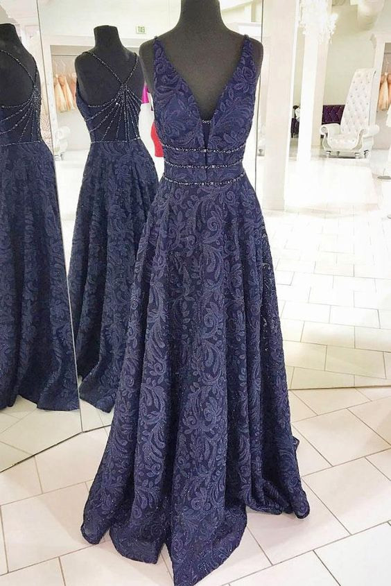 272015e274 2018 Popular Lace Prom Dress,Navy Evening Gown,Dark Blue Prom Dresses,Sleeveless  Beading Evening Dress,V-Neck Sexy Party Dress