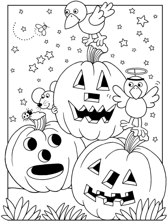4 cute Halloween pages to color
