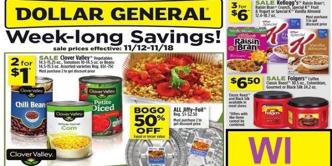 dollar general weekly ad week-long savings to 11/18 2017