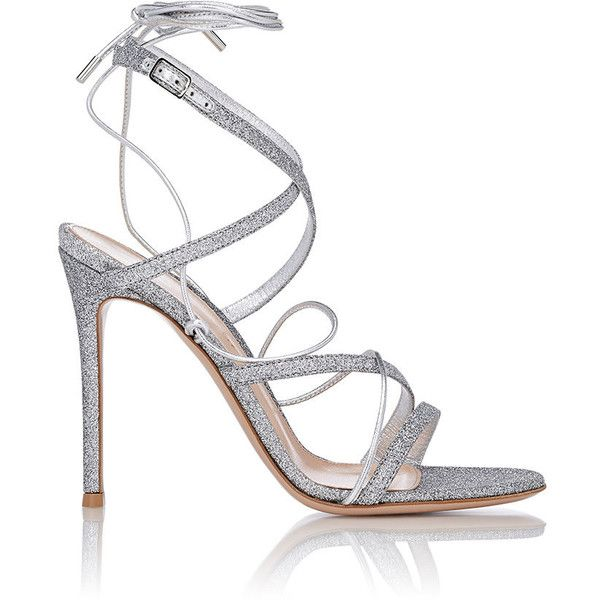 Gianvito Rossi Glitter Ankle-Strap Sandals found on Polyvore featuring shoes, sandals, silver, leather strappy sandals, criss cross strap sandals, ankle strap high heel sandals, leather sole sandals and ankle wrap sandals