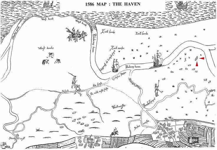 1586 map of Blakeney marshes, with arrows to identify the chapel. Taken from photograph in  Wright's article