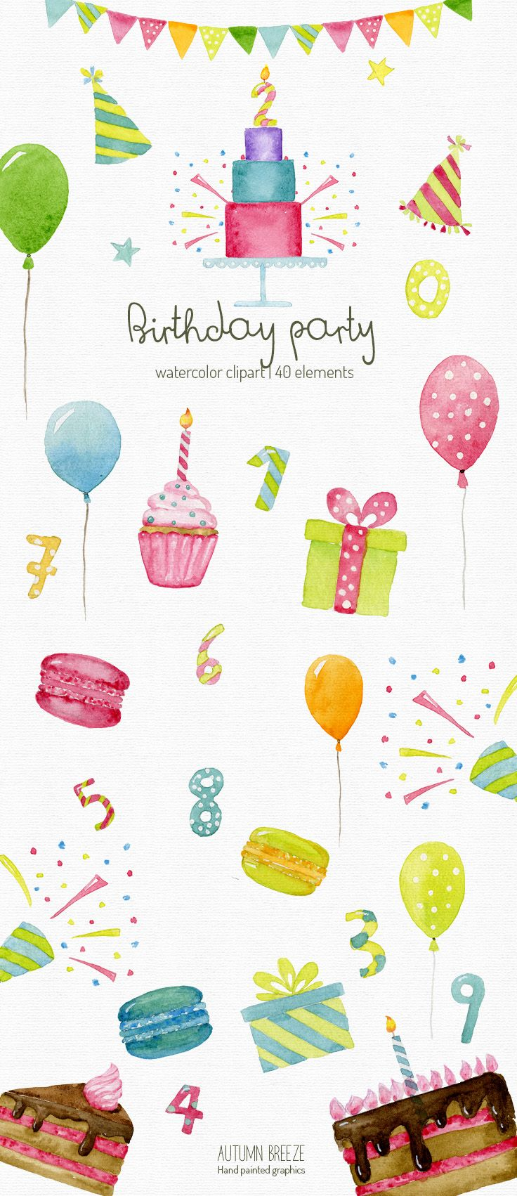 Watercolor Birthday Clipart Anniversary Clipart Party Clipart