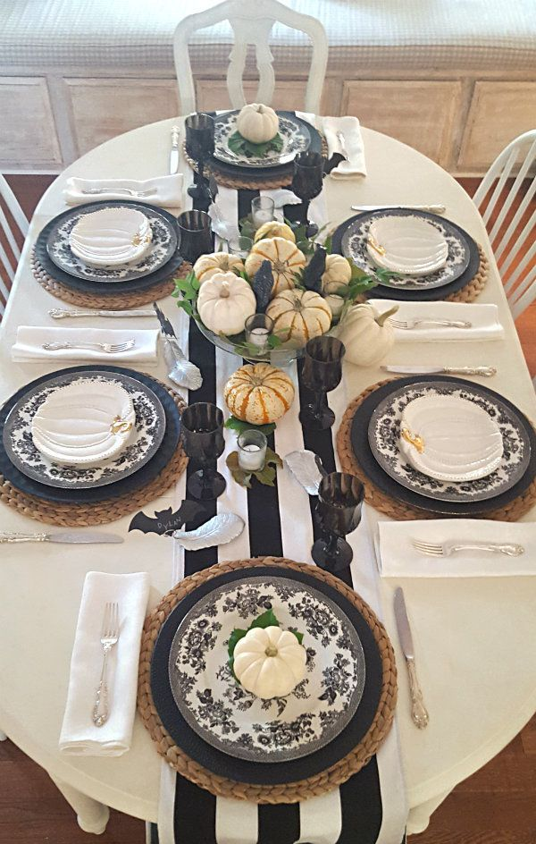 i was inspired by nature for my halloween table so spooky birds white pumpkins - Halloween Table Decorations Ideas
