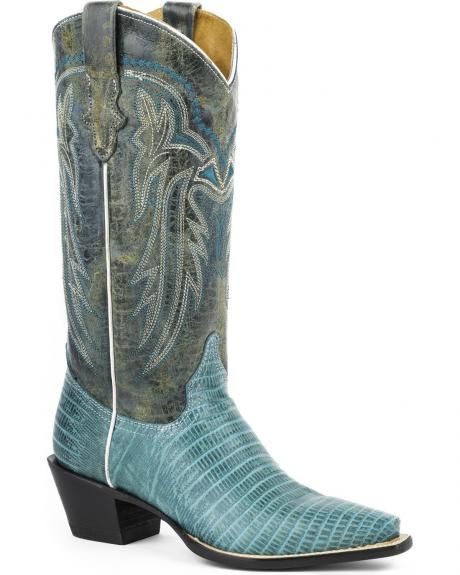 Roper Lizzy Turquoise Cowgirl Boots - Snip Toe