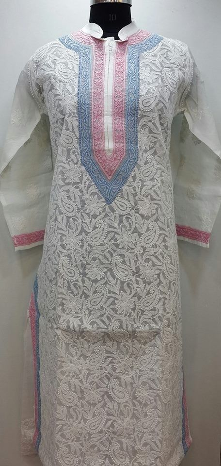 Lucknowi Chikan Online Kurti White on White Cotton $35