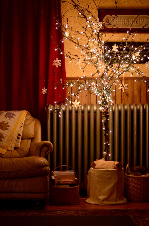 How To String Lights On A Ficus Tree : Christmastime. Warm twinkle-lights. Crocheted snowflakes. Handmade quilts and baskets. Brown ...