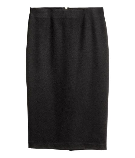 Check this out! Pencil skirt in jersey with concealed elastication at the waist and a visible zip and slit at the back. - Visit hm.com to see more.