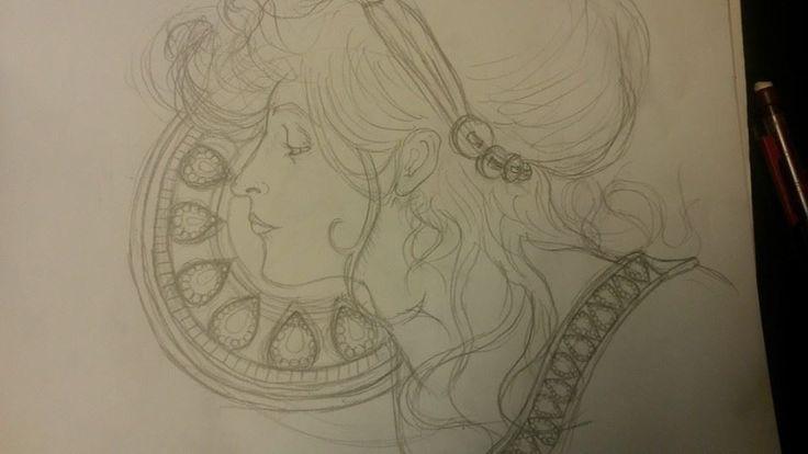 Illustration fait par l'inspiration Mucha.