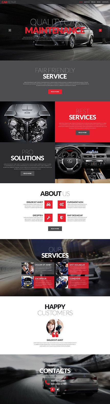 Template 51928 - Car Repair  Responsive Website Template