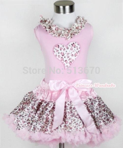 Розовый леопард юбка розовый леопард в форме сердца печать розовый леопард шнуровка топ хлопковые бриджи 1-8Year MAPSA0220