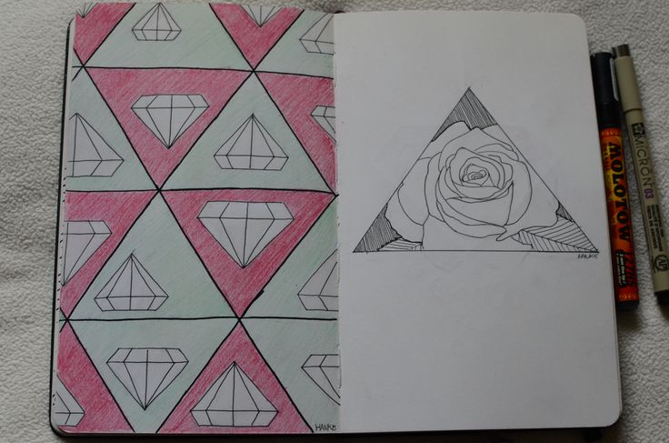Awesome triangle and diamond pattern, except fer the major screw up on the bottom. And a  rose inside a triangle Moleskine