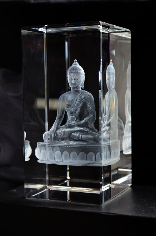 3D Customdesigned Crystal. This Buddha statue is made in only one ex. from a customer that had CAD File. With this files you can get even a lot of more small details, then you can get from a good photo.
