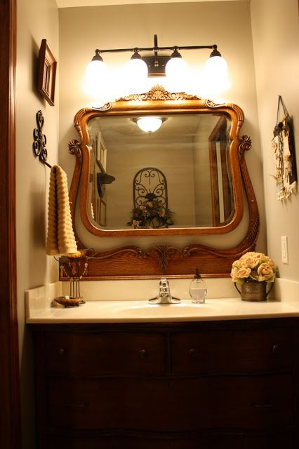 Love this dresser mirror as washroom mirror from Desires of the Heart