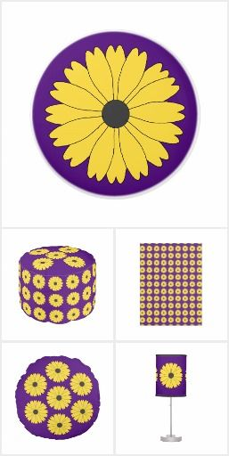 Yellow Daisy and Purple Girls Bedroom Comforts. A girl loves to have a comfortable place to call her own. Each item has a background of royal purple and a pattern of pretty yellow daisies on their design. This collection of purple comforts for kids and teenage girls includes various shapes and sizes of pillows including a body pillow. Fleece blankets that are available in three sizes, a big round pouf for extra seating, a delightfully daisy wall clock, table lamp and matching drawer knobs…