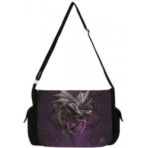 Dragon Beauty Messenger Bag by Anne Stokes - New at GothicPlus.com - your source for gothic clothing jewelry shoes boots and home decor.  #gothic #fashion #steampunk