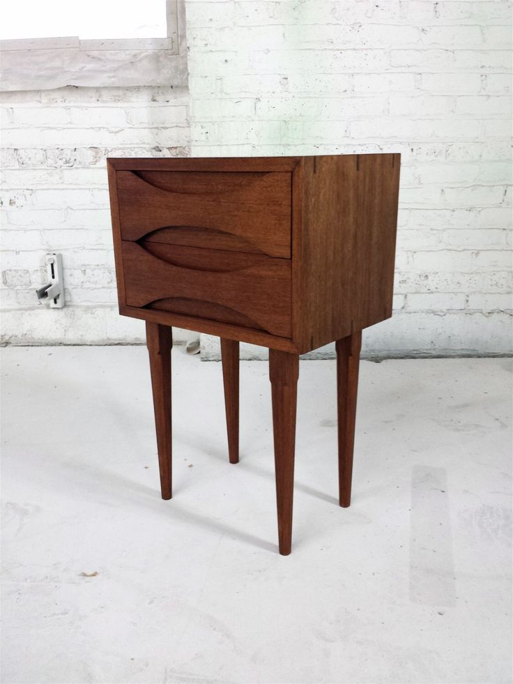 Modern Mahogany Bedroom Furniture: Nightstand With Two Drawers // Mid-century Modern
