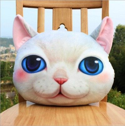 Home Decor Plush Stuffed 3D Printed Cat Throw Pillow Sofa Car Cushion Head Face Animals Emoji Pillow+Pillow Inner Christmas Gift
