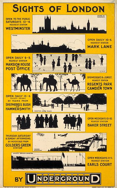 Sights of London By Underground; by unknown artist, 1913