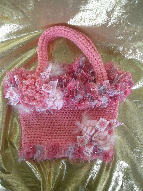 Crochet Purse, Purse, Fancy Purse, Pink  purse, Handmade by CelinaRoseDesigns on etsy, $20.00