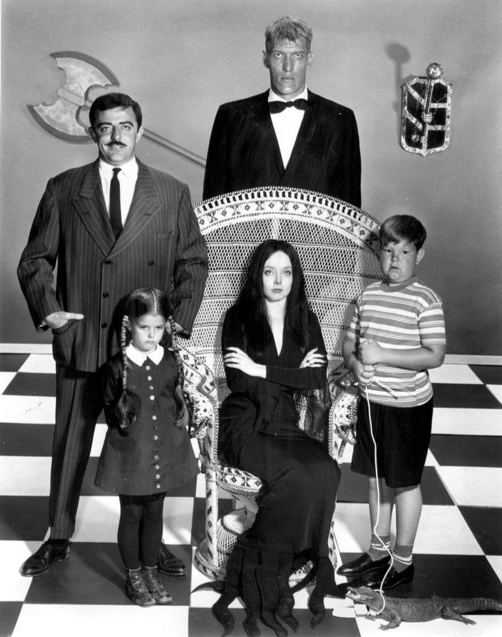Addams Family main cast 1964 - The Addams Family (TV series) Standing back from laft-John Astin (Gomez), Ted Cassidy (Lurch). Standing, front-Lisa Loring (Wednesday), Ken Weatherwax (Pugsley). Seated-Carolyn Jones (Morticia). - Wikipedia, the free encyclopedia