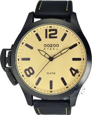 Oozoo Steel XXL Black Leather Strap OS341